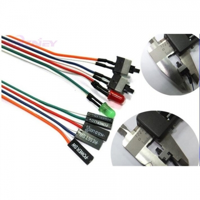 Wazney Power Cable Adapter Cord Computer ON/OFF Switch Reset SW Cable Connector HDD LED 2 Switch