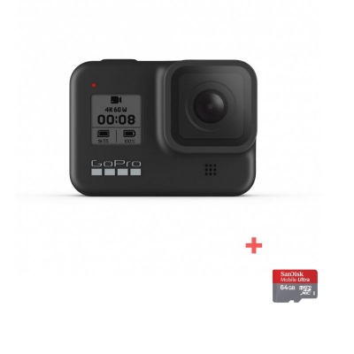 GoPro Hero8 Black, 12MP, Night photo, LiveBurst, Video 4K60, TimeWarp 2.0, Rezistent la apă și praf + card Sandisk 64gb Cadou