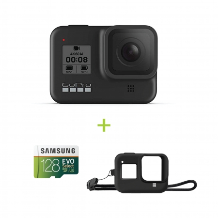 GoPro Hero8 Black, 12MP, Night photo, LiveBurst, Video 4K60, TimeWarp 2.0, Rezistenta la apa si praf + card Samsung Evo Select 128GB si Sleeve