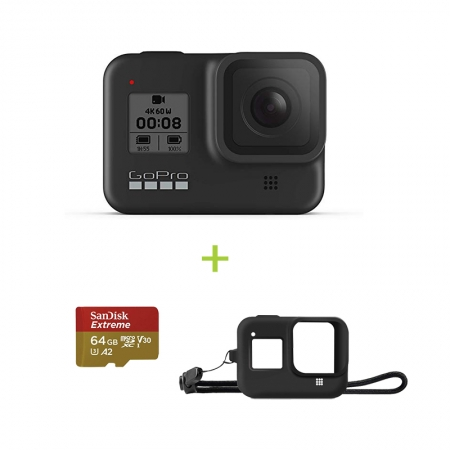 GoPro Hero8 Black, 12MP, Night photo, LiveBurst, Video 4K60, TimeWarp 2.0, Rezistent la apă și praf + card Sandisk 64gb si Sleeve Cadou