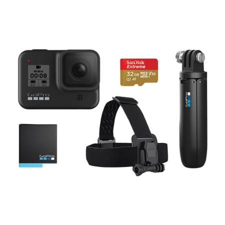 GoPro Hero8 Black Special Bundle (Shorty grip, Head strap, Card 32GB, Baterie)