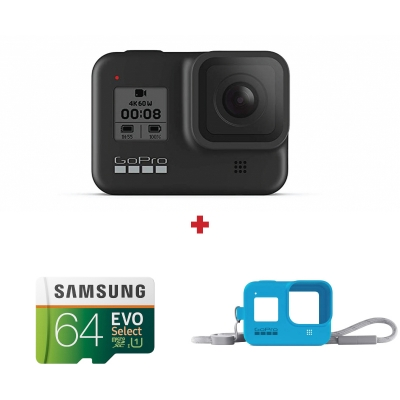 GoPro Hero8 Black + card Samsung Evo Select 64GB + GoPro Sleeve & Lanyard cadou