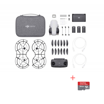 DJI Mavic Mini Fly More Combo, Gimbal 3 axe, 2.7K video, Autonomie 30min, 249g + card Sandisk 64gb Cadou