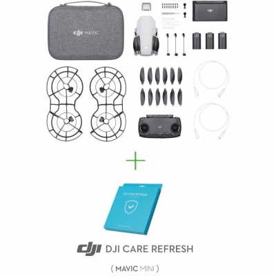DJI Mavic Mini Fly More Combo, Gimbal 3 axe, 2.7K video, Autonomie 30min, 249g + DJI Care Refresh