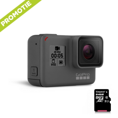 GoPro Hero 5 Black Edition + Card 64GB Gratuit, 4K, Stabilizare Video, Comenzi vocale, LCD Touch