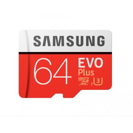 Card Samsung de memorie Micro- SDXC EVO Plus 64Gb, UHS-I U3 + Adaptor SD, Class 10