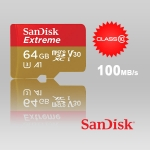 Card Memorie Micro SD SanDisk Extreme 64gb, viteza scriere 100mb/s