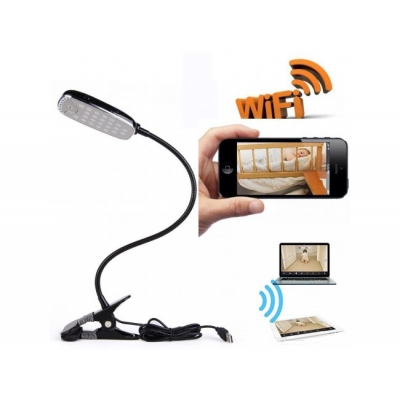 Camera Wi-Fi ascunsa in Lampa de birou Full HD cu Detectie la miscare si alarma