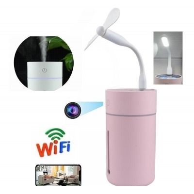 Umidificator Colourful cu USB si camera de supraveghere HD 1080P, Wi-Fi, Detectie la miscare