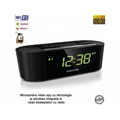 Ceas cu Radio, Microcameră video spion, WI-FI IP P2P ascunsă, 32 Gb, 1080p, Senzor Mişcare