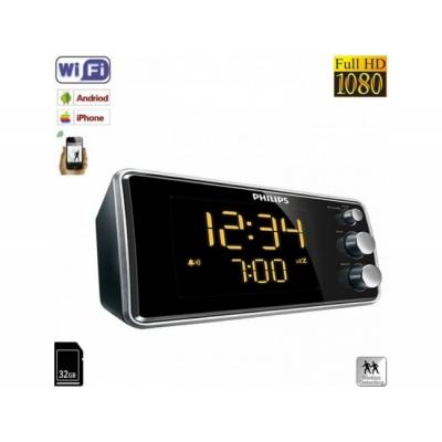 Ceas Cu Radio, Minicameră Video de Spionaj WI-FI IP P2P Mascată, 32 Gb, 1080p, Senzor Mişcare, model Phillips