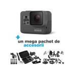GoPro Hero 5 Black Edition + MEGA PACHET de Accesorii, 4K, Stabilizare Video, Comenzi vocale, LCD Touch