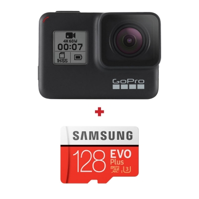 GoPro HERO7 Black + card Samsung Evo Plus 128GB