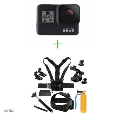 GoPro HERO7 Black -  Comenzi vocale, Stabilizare video, Wi-Fi, GPS, Rezistent la apa, 4k60/1080p240 + MINI PACHET de Accesorii SHOOT