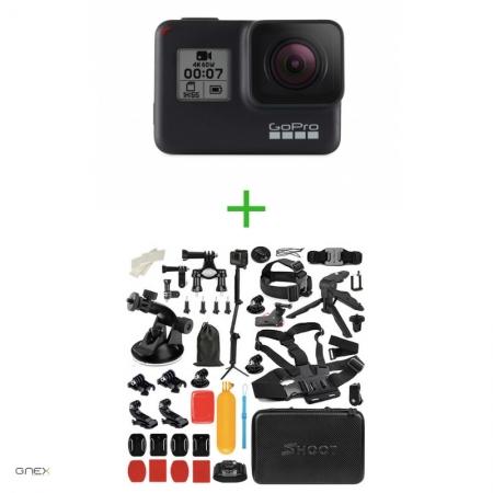 GoPro HERO7 Black -  Comenzi vocale, Stabilizare video, Wi-Fi, GPS, Rezistent la apa, 4k60/1080p240 + MEGA PACHET  de Accesorii SHOOT