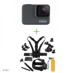 GoPro HERO7 Silver - Comenzi vocale, Stabilizare video, GPS, Rezistent la apa, 4k30/1080p60 + MINI PACHET de Accesorii SHOOT