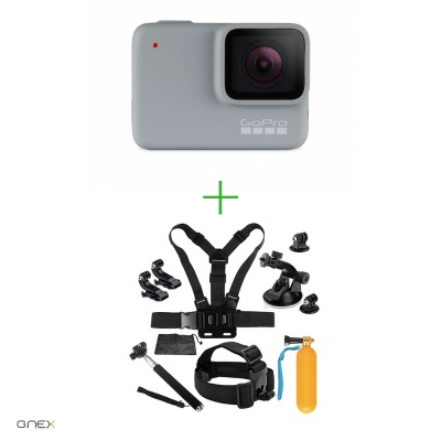 GoPro HERO7 White - Comenzi vocale, Stabilizare video, Rezistent la apa,Touch Screen Intuitiv, Full HD + MINI PACHET  de Accesorii SHOOT