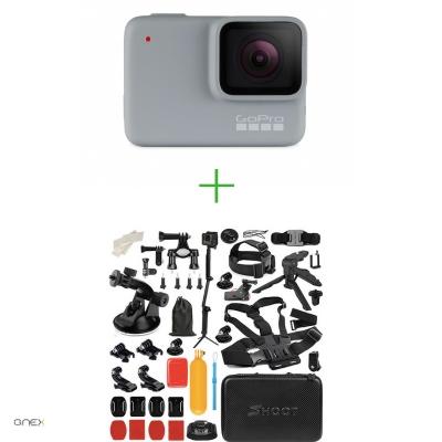 GoPro HERO7 White - Comenzi vocale, Stabilizare video, Rezistent la apa,Touch Screen Intuitiv, Full HD + MEGA PACHET de Accesorii SHOOT