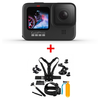 GoPro HERO9 Black, 5K30, 20MP, HyperSmooth 3.0, ecran frontal color + MINI Pachet de Accesorii SHOOT