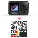 GoPro HERO9 Black, 5K30, 20MP, HyperSmooth 3.0, ecran frontal color + MEGA Pachet de Accesorii SHOOT
