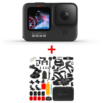GoPro HERO9 Black, 5K30, 20MP, HyperSmooth 3.0, ecran frontal color + MEGA Pachet de Accesorii SHOOT