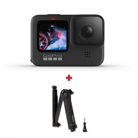 GoPro HERO9 Black, 5K30, 20MP, HyperSmooth 3.0, ecran frontal color + Trepied flexibil GoPro 3-Way
