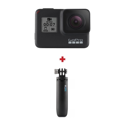 GoPro HERO7 Black, 4K60, HyperSmooth Video, SuperPhoto, Comenzi vocale + Shorty
