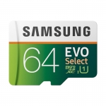 Card de memorie MicroSDXC Samsung Evo Select 64GB UHS-1 U3 Class 10, Viteza citire 100MBps, Viteza scriere 20MBps