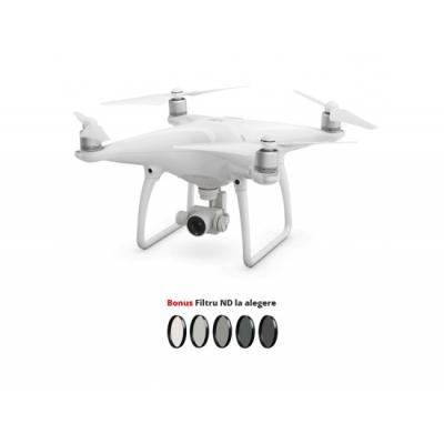 Drona DJI Phantom 4, Cameră 4K, Gimbal 3 axe, Senzor proximitate + Filtru ND la alegere