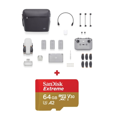 DJI Mini 2 Fly More Combo, Gimbal 3 axe, 4K, Autonomie 31 min, 249g + card Sandisk Extreme 64GB