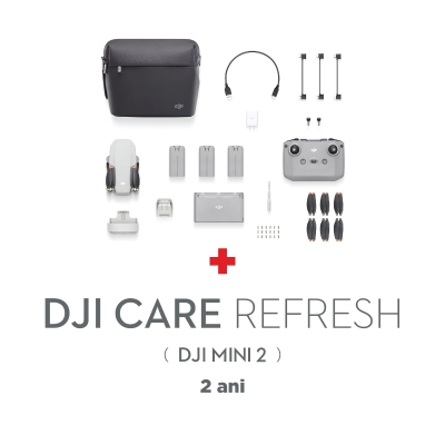 DJI Mini 2 Fly More Combo, Gimbal 3 axe, 4K, Autonomie 31 min, 249g + Asigurare Care Refresh 2 ani