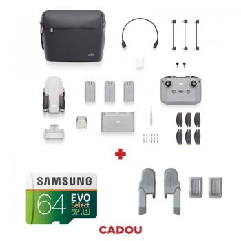 DJI Mini 2 Fly More Combo, Gimbal 3 axe, 4K, Autonomie 31 min, 249g + card Samsung Evo Select 64GB + Tren aterizare PGYTECH
