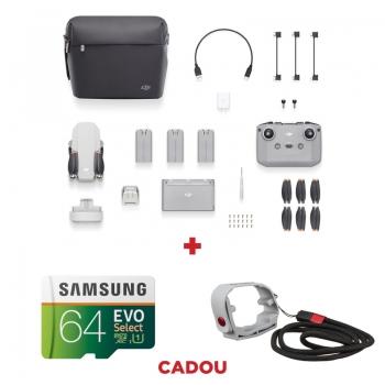 DJI Mini 2 Fly More Combo, Gimbal 3 axe, 4K, Autonomie 31 min, 249g + card Samsung Evo Select 64GB + Suport elice PGYTECH
