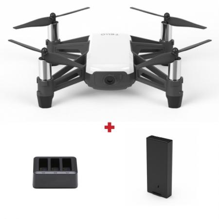 Drona DJI Tello, 5MP, Transmisie live HD 720p, Autonomie 13 minute, 8D Flips + Charging hub + Baterie suplimentara