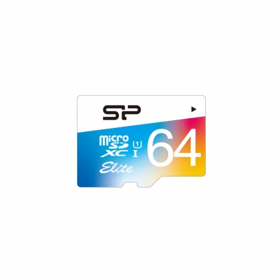 Card de memorie Silicon Power MicroSD 64GB cu Adaptor,  Elite/UHS. UHS-1 Color