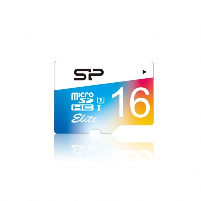 Card de memorie Silicon Power MicroSD 16GB cu Adaptor,  Elite/UHS. UHS-1 Color