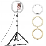 Lampa circulara Ring Light, ideala pentru Make-up, Vlogging, Live Stream, Suport telefon, 3 trepte lumina, Telecomanda pe fir, Trepied inclus