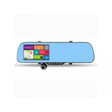 5 în 1: GPS Android 5.0 inch + Cameră Auto cu dublă lentilă, Oglinda, GPS, Car Kit, Senzor Parcare, WiFi, Modulator FM, Full HD 1080p