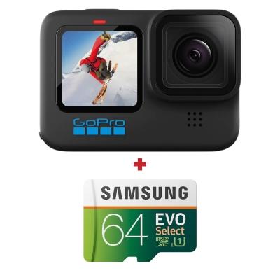 GoPro HERO10 Black, 5.3K@60fps + card memorie Samsung Evo Select 64GB