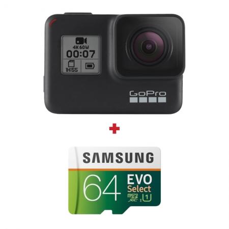 GoPro HERO7 Black + card Samsung Evo Select 64GB