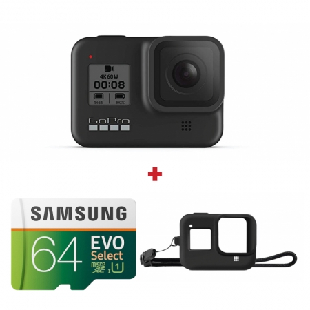 GoPro Hero8 Black + card Samsung Evo Select 64GB + Sleeve cadou