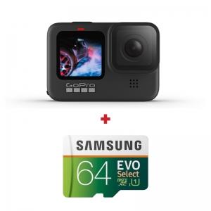 GoPro HERO9 Black, 5K30, 20MP, HyperSmooth 3.0, ecran frontal color + card Samsung Evo Select 64GB