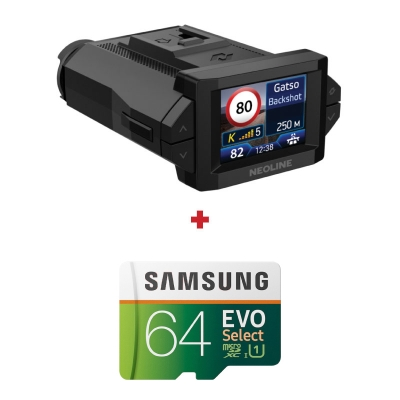 Camera auto Neoline X-COP 9300s, Radar, GPS, Full-HD, G-senzor, Parking mode + card Samsung Evo Select 64GB