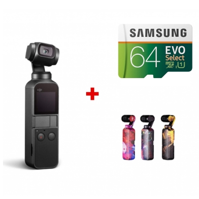 DJI Osmo Pocket + card Samsung Evo Select 64GB + Colourful skins