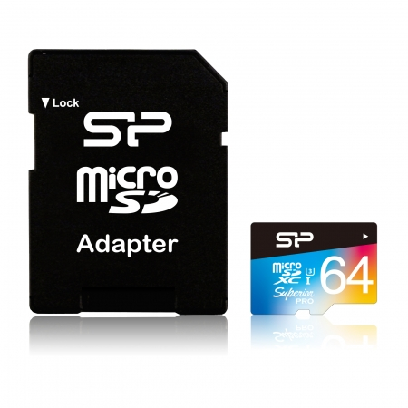 Card de memorie Silicon Power MicroSD 64GB Superior UHS-1 U3. UHS-3, cu Adaptor